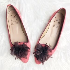 Anthro KMB Suede Pointed Toe Feather Flats